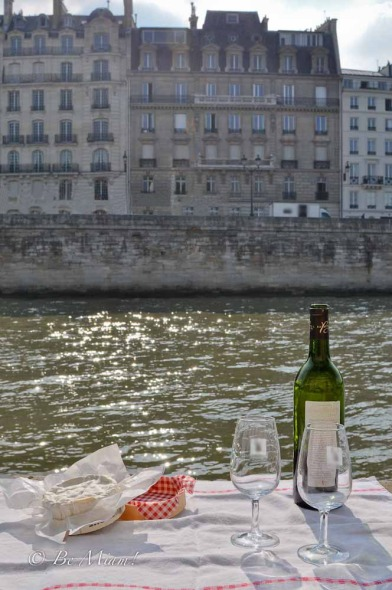 Food and wine on the bank of the Seine in Paris