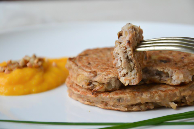 Kasha and mushroom pancakes, butternut and chestnuts