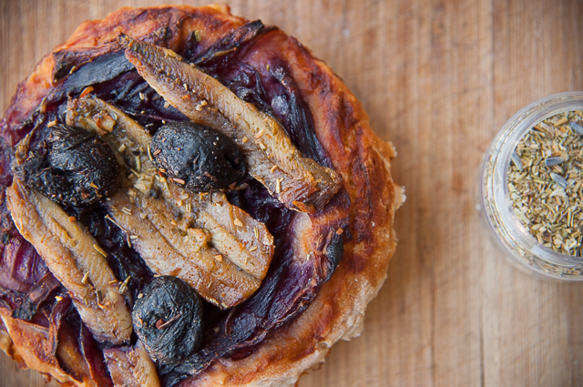 French Pissaladiere - red onion and anchovy pizza