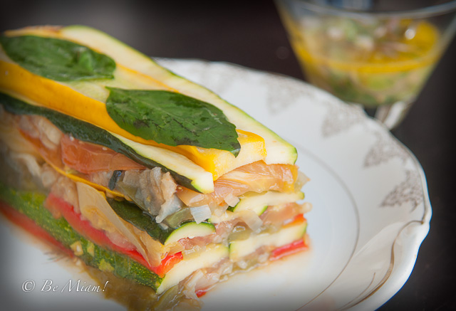 Summer vegetable terrine with sauce vierge